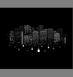 windows of buildings silhouette with dangling vector image