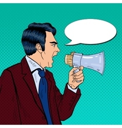 Angry Businessman Shouting in Megaphone Pop Art vector image