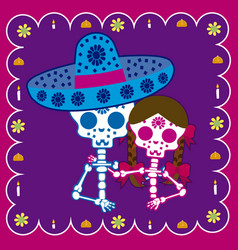 couple day of the dead vector image vector image