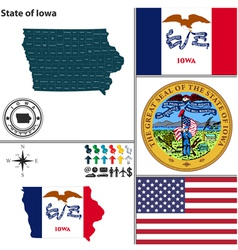 Map of Iowa with seal vector image
