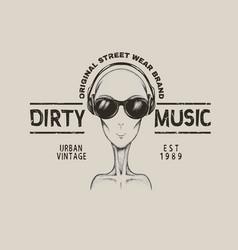 music fan-alien in headphones vector image vector image