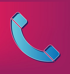 phone sign blue 3d printed vector image vector image