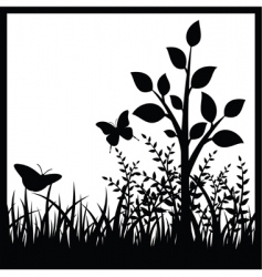 Small tree and butterflies vector