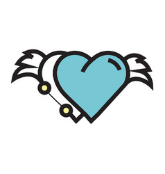 two hearts wings pen tool design blue vector image
