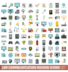 100 communication review icons set flat style vector image