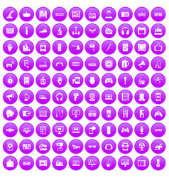 100 device app icons set purple vector