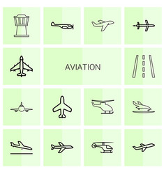 14 aviation icons vector