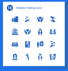 16 holding icons vector