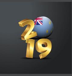 2019 golden typography with tuvalu flag happy new vector