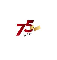 75 years anniversary celebration gold ribbon vector