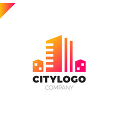 abstract city building logo design concept symbol vector image