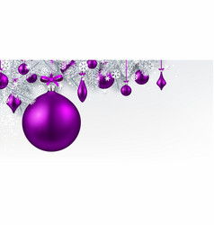 background with purple 3d christmas ball vector image