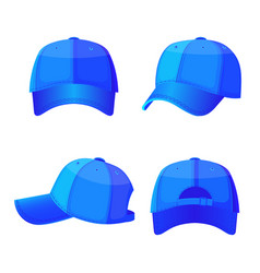 Baseball white caps in front side and back view vector
