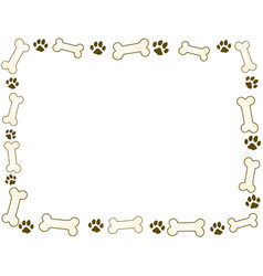 bone and paw frame vector image