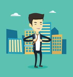 business man opening his jacket like superhero vector image