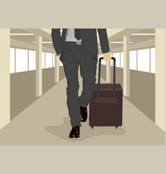 Businessman carrying suitcase at airport vector
