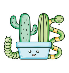 Cactu in ceramic pot and snake and worm kawaii vector