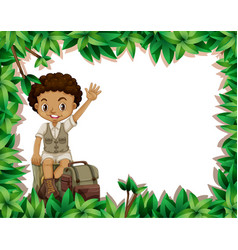 Camping boy on nature frame vector