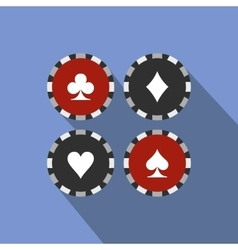 Card suit casino chips flat icon vector image