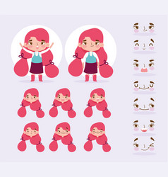 Cartoon character animation little girl with vector