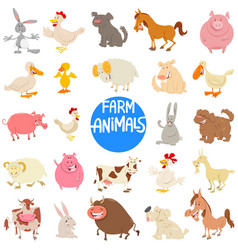 cartoon farm animal characters large set vector image