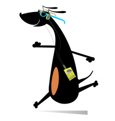cartoon running dog isolated vector image
