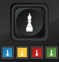 Chess bishop icon symbol Set of five colorful vector