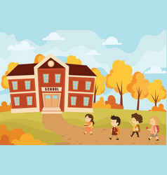 children going to school of vector image