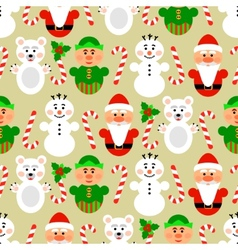 Christmas seamless pattern with characters beige vector image