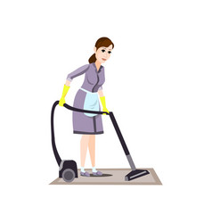 Cleaning woman in yellow gloves use modern vacuum vector