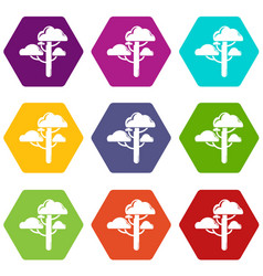 cloud tree icons set 9 vector image