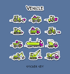 Construction equipment sticker set for your vector