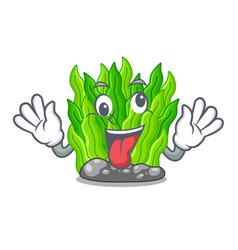 crazy green seaweed in a cartoon aquarium vector image