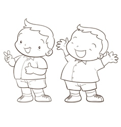 Cute cartoon boy character line art vector