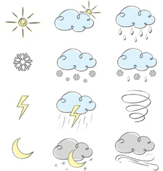 cute weather icons vector image