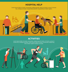 Disabled person banner set vector