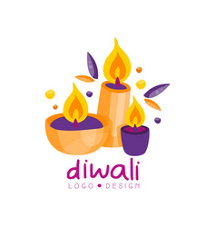 diwali colorful logo hindu festival label poster vector image