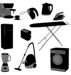 Domestic appliances set vector
