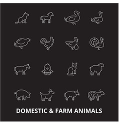 domestic farm animals editable line icons vector image