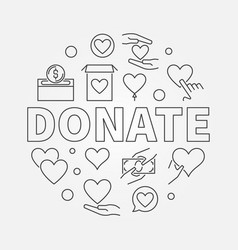 donate round charity and vector image