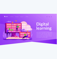 E-library landing page template vector
