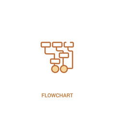 Flowchart concept 2 colored icon simple line vector