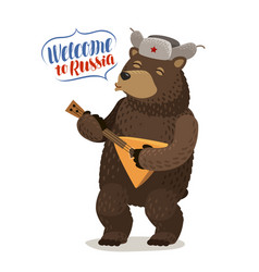 Funny russian bear in cap with earflaps plays vector