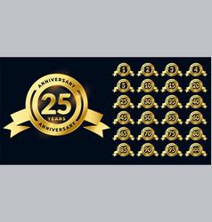 Golden anniversary shiny labels or emblems big set vector