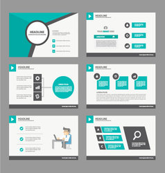 Green Black presentation templates Infographic set vector image