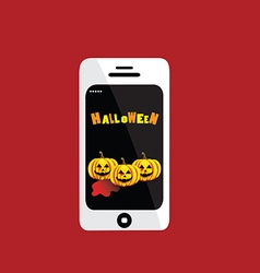 Halloween day in telephone on red background vector image