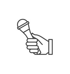 Hand holding microphone icon in outline vector
