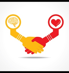 handshake between men having brain and heart vector image