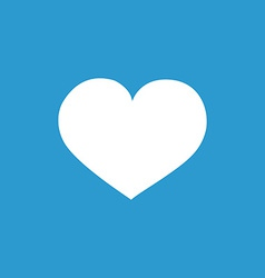 Heart icon white on the blue background vector