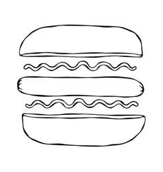 hotdog bun sausage ketchup mustard fast food vector image